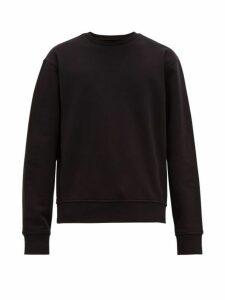 Maison Margiela - Leather Elbow Patch Cotton Sweatshirt - Mens - Black