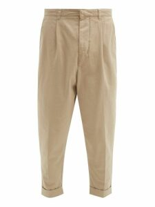 Ami - Turn Up Cotton Gabardine Trousers - Mens - Beige
