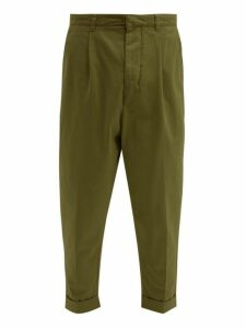 Ami - Turn Up Cuff Cotton Twill Tapered Trousers - Mens - Green