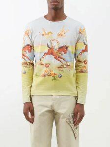 Balmain - Ribbed Inset Cotton Biker Chino Trousers - Mens - Navy