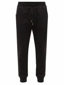 Dolce & Gabbana - Logo Plaque Cuffed Ankle Cotton Track Pants - Mens - Black