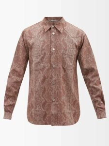 Valentino - Camouflage Jacquard Distressed Denim Jacket - Mens - Blue