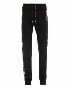 Balmain - Logo Tape Cotton Jersey Track Pants - Mens - Black