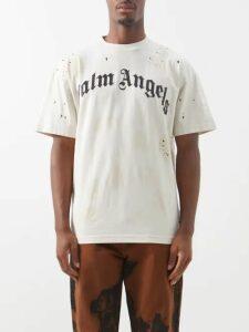 Off-white - Graffiti Logo Distressed Denim Jacket - Mens - Light Blue