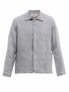 Marané - Single Breasted Linen Jacket - Mens - Blue