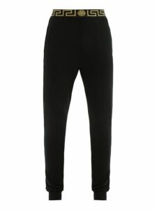 Versace - Logo Jacquard Jersey Pyjama Trousers - Mens - Black