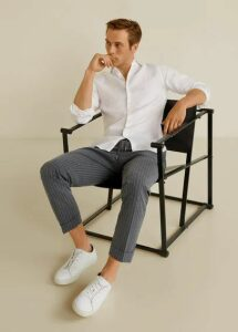 Regular fit cord pleated trousers