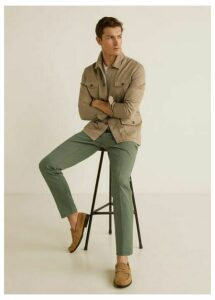 Regular fit pleated cotton trousers