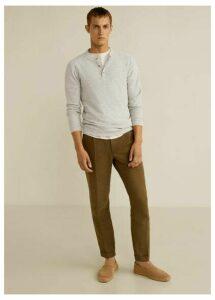 Flecked cotton linen-blend sweater