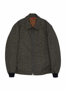 Virgin wool houndstooth shirt jacket