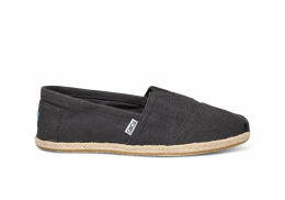 TOMS Washed Black Linen Rope Sole Men's Classics Slip-On Shoes - Size UK9.5