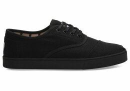 TOMS Black On Black Canvas Mens Cupsole Cordones Venice Collection Shoes - Size UK6