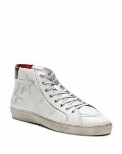 The Kooples Distressed Leather High-Top Sneakers