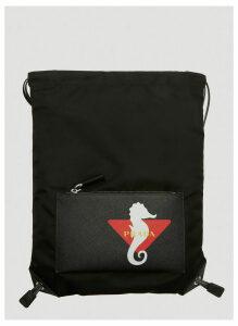 Prada Seahorse Print Drawstring Backpack in Black size One Size