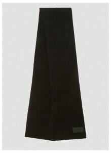 Prada Logo Ribbed Knit Scarf in Black size One Size