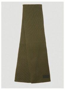 Prada Logo Ribbed Knit Scarf in Green size One Size