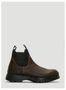Prada Brixxen Leather and Neoprene Boots in Brown size UK - 11