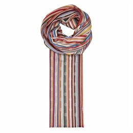 Paul Smith Striped Polka-dot Twill Jacquard Scarf
