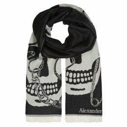 Alexander McQueen Charcoal Skull-intarsia Wool Scarf