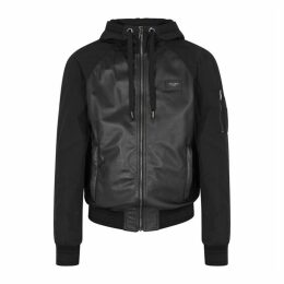 Dolce & Gabbana Black Leather And Shell Jacket