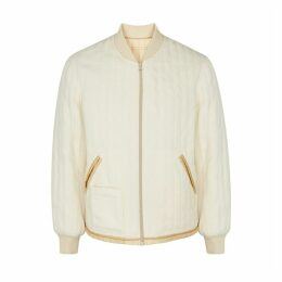 Helmut Lang Cream Quilted Fleece Bomber Jacket