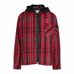 Off-White Red Checked Brushed Flannel Jacket