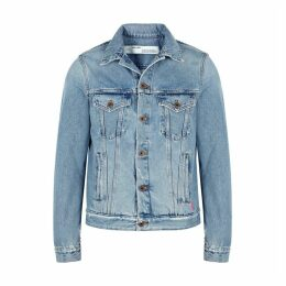 Off-White Light Blue Printed Denim Jacket