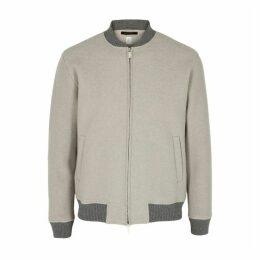 Eleventy Taupe Wool Bomber Jacket