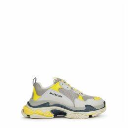 Balenciaga Triple S Grey And Yellow Mesh And Nubuck Sneakers