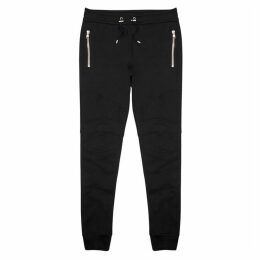Balmain Black Panelled Cotton Sweatpants