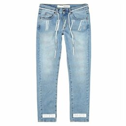 Off-White Light Blue Printed Slim-leg Jeans