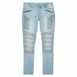 Balmain Light Blue Slim-leg Biker Jeans