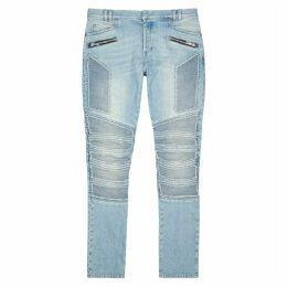 Balmain Light Blue Slim-leg Biker Jeans