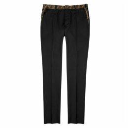 Fendi Black Monogram-trimmed Twill Trousers