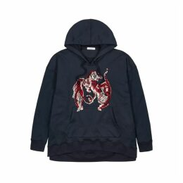 Valentino Navy Tiger-appliquéd Hooded Sweatshirt