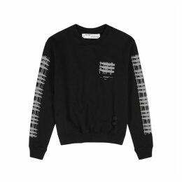 Off-White Black Reflective-print Cotton Sweatshirt