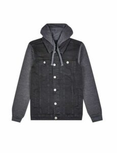 Mens Black Denim Jacket With Jersey Hood, MID BLUE