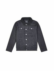 Mens Black Denim Jacket With Borg Collar, Black