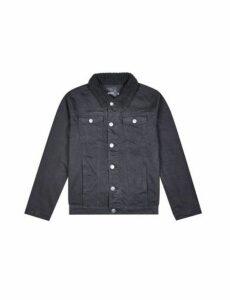 Mens Black Denim Jacket With Borg Collar, Black