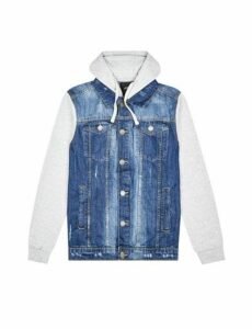 Mens Midwash Denim Jacket With Jersey Hood, Blue