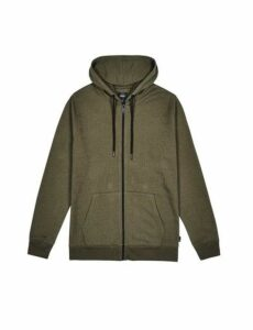 Mens Khaki Marl Zip-Through Hoodie, KHAKI