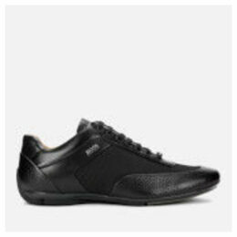 BOSS Men's Racing Leather Low Profile Trainers - Black - UK 11 - Black