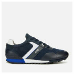 BOSS Men's Parkour Mesh Running Style Trainers - Dark Blue - UK 9 - Blue