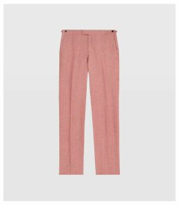 Reiss Mellowed - Linen Tailored Trousers in Pink, Mens, Size 38