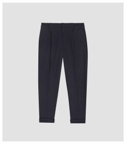 Reiss Tokyo - Linen Pleat Front Tapered Trousers in Navy, Mens, Size 38