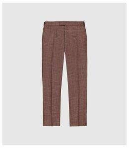 Reiss Recline - Wool Silk Blend Slim Fit Trousers in Bordeaux, Mens, Size 36