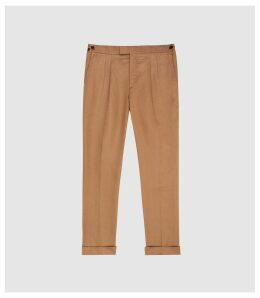 Reiss Alabama - Linen Blend Trousers in Tobacco, Mens, Size 38