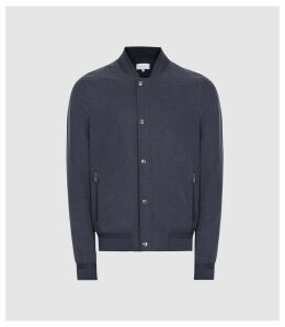 Reiss Kane - Linen Blend Bomber Jacket in Navy, Mens, Size XXL