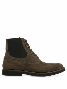 Eleventy perforated lace-up boots - Brown