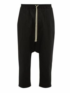 Rick Owens - Cropped Stretch Cotton Twill Trousers - Mens - Black